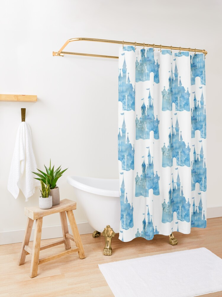 Alternate view of Blue Wishes Shower Curtain