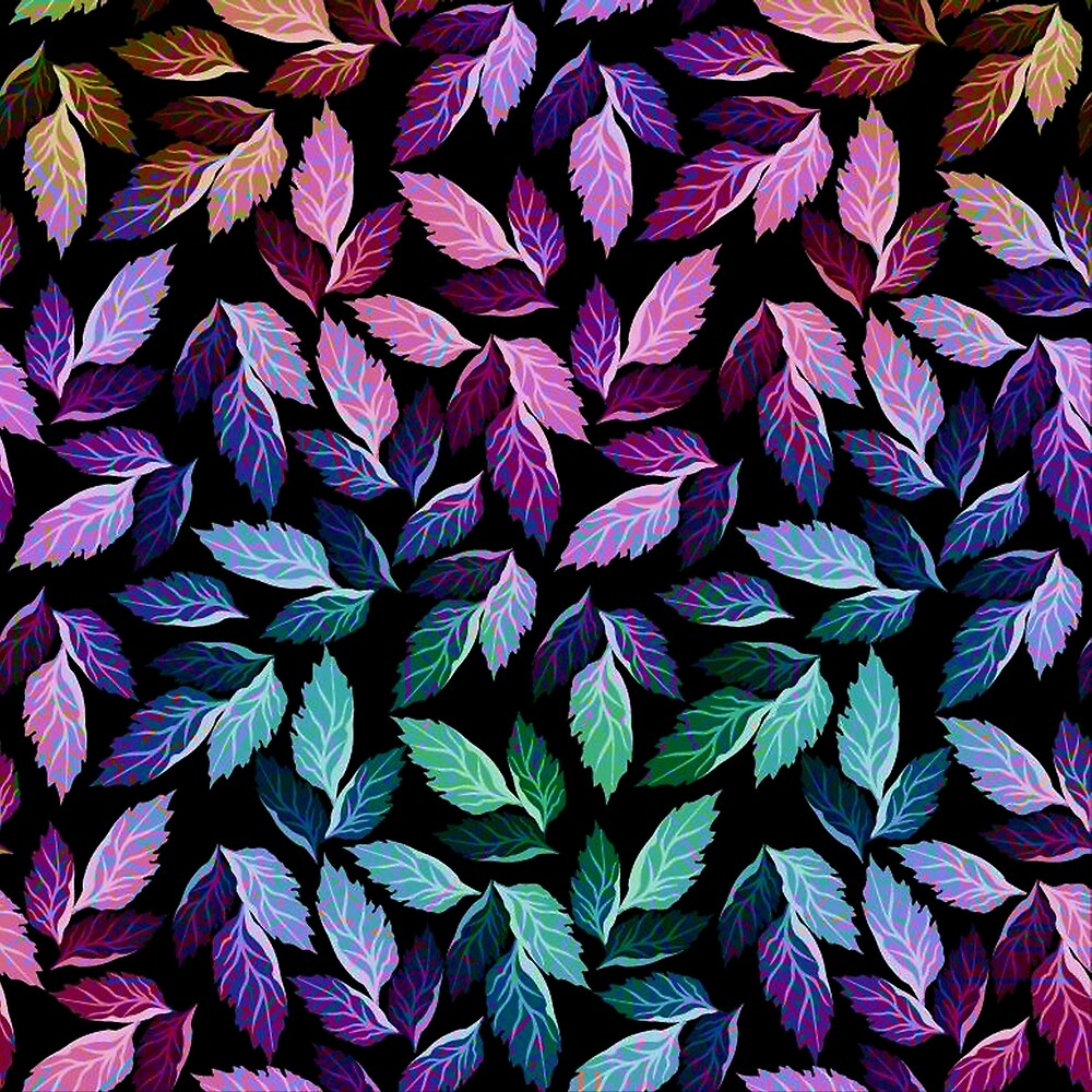 Tropical Colors Falling Leaves Pattern by HavenDesign