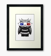 Owl - 3D Glasses - White Framed Print