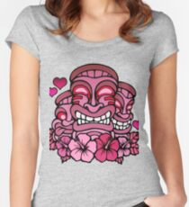 Tiki gods go Pink  Women's Fitted Scoop T-Shirt