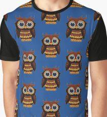 Friendly Owl - Blue Graphic T-Shirt