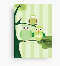 Green Owls Canvas Print