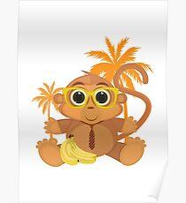 Monkey Nerd - White Poster