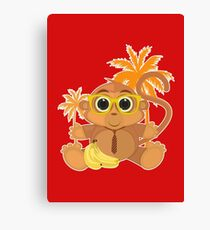 Monkey Nerd - Red Canvas Print