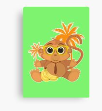 Monkey Nerd - Green Canvas Print