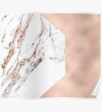 Graphic rose gold marble over rose gold Poster