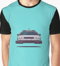 DeLorean DMC-12 Back To The Future Car - Time Machine Aqua Graphic T-Shirt