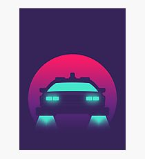 DeLorean DMC-12 Back To The Future Car - Time Machine Sunset Photographic Print