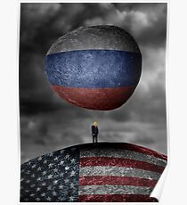 Trump. Between a rock and a hard place. Poster