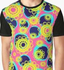 Yellow Mandala Flowers on Pink with Aqua Spots Graphic T-Shirt