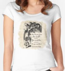 Alice In Wonderland Quote - How Do You Know I'm Mad Women's Fitted Scoop T-Shirt