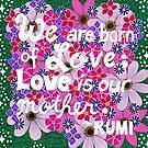 Wir sind geboren aus Liebe, Rumi Zitat, Schriftzug, Blumen-Doodle, inspirierend von Eneri Collection