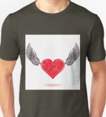 colorful illustration  with heart icon on white background Unisex T-Shirt
