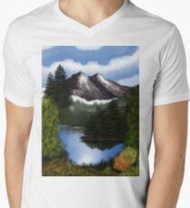 Mountain Scene Mens V-Neck T-Shirt