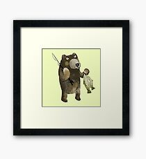 Geoff Grizzly Holding Salmon Framed Print