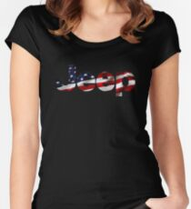 Jeep - USA flag Women's Fitted Scoop T-Shirt