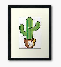 Please Hug Sad Cactus Framed Print