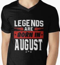 Camiseta para hombre de cuello en v LAS LEYENDAS NACIEN EN AGOSTO