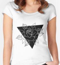 Blackwork Rose Women's Fitted Scoop T-Shirt
