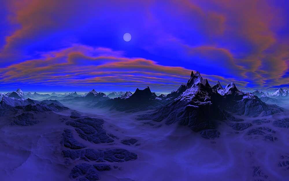 Glacial Moon on Onyx Cliffs by Randy Bufano