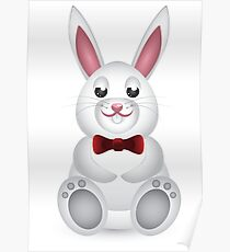 Cute white bunny with bow  Poster