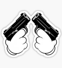 Mickey Mouse Hands Shooting Two Guns Sticker