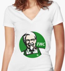 KFC PARODY THC Weed. Women's Fitted V-Neck T-Shirt