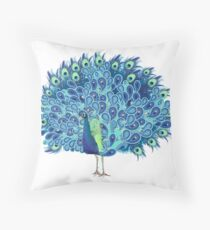Peacock - Green and BLUE Throw Pillow