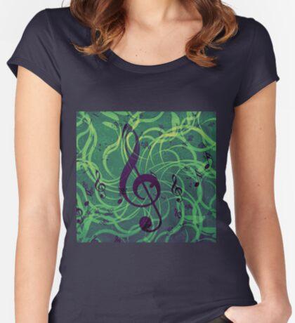 Musik Blumen Hintergrund Tailliertes Rundhals-Shirt