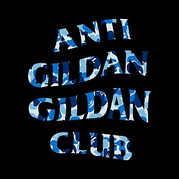 Anti Gildan Gildan Club |  Classic Black T-shirt with Blue Bape Camo | Back Print by Street-King