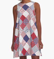 USA Americana Diagonal Red White & Blue Quilt A-Line Dress