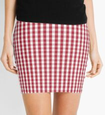 USA Flag Red and White Gingham Checked Mini Skirt