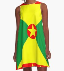 Tropical Grenada Flag A-Line Dress
