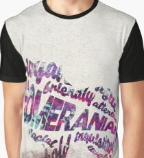 Pomeranian Typographic Watercolor Painting Graphic T-Shirt