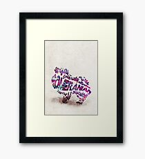 Pomeranian Typographic Watercolor Painting Framed Print
