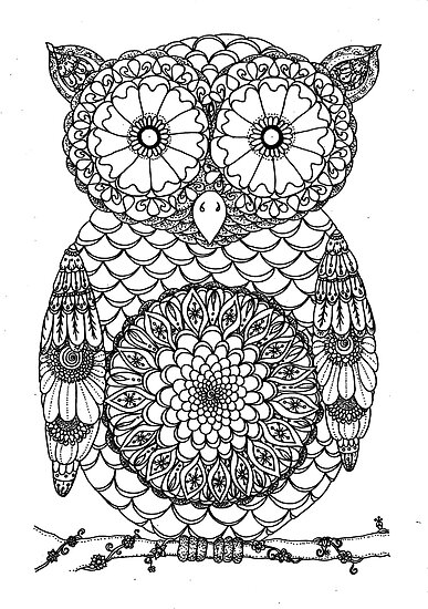 Cute Black And White Mandala Owl Design Posters By Tinkershandmade