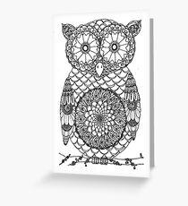 cute black and white mandala owl design Greeting Card