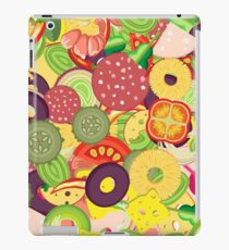 Pattern for pizza toppings. Many pieces of different vegetables, sausages and whole shrimps iPad Case/Skin