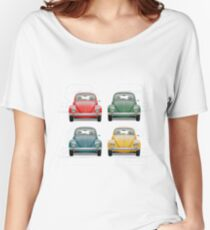 Volkswagen Type 1 - Variety of Volkswagen Beetle on Vintage Background  Women's Relaxed Fit T-Shirt