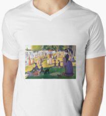 Sunday Afternoon on the Island of La Grande Jatte by Seurat Men's V-Neck T-Shirt
