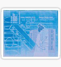 """Original Collage Art - Vintage Blue """"Very Fine"""" Sticker"""