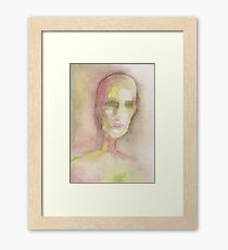 Watercolor portrait of an empty soul Framed Print