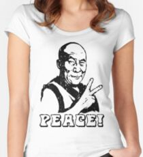 Dalai Lama Peace Sign T-Shirt Women's Fitted Scoop T-Shirt
