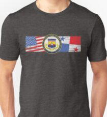 US Panama Canal Zone Seal with US and Panama Flags - Zonian Unisex T-Shirt