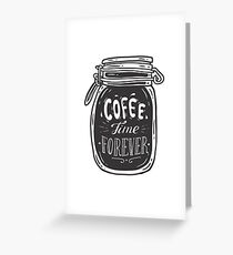 Coffee doodle lettering quote typographic vector. Hand drawn black on white coffee jar cute illustration. For coffeeshop, package, ads. Greeting Card