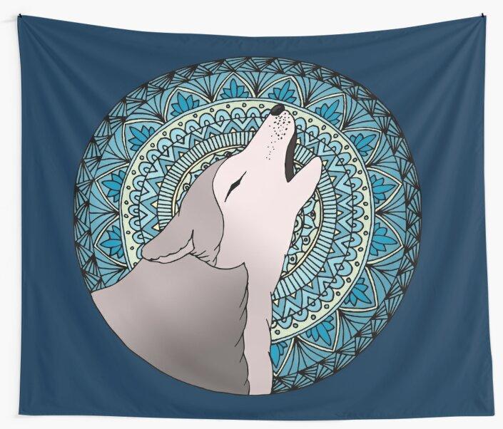 Howling Wolf Mandala Moon by julieerindesign
