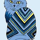Decorated Blue Kitty by julieerindesign
