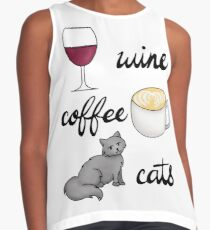 Wine Coffee Cats Contrast Tank