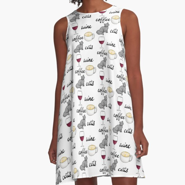 Wine Coffee Cats A-Line Dress