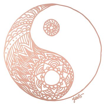 Rose Gold Yin Yang by julieerindesign